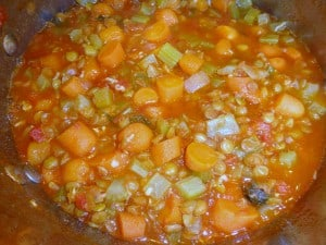 Lentil soup in the pan.