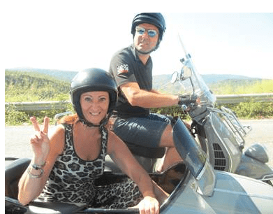 Viviana's brother and her on a Vespa sidecar trip last summer crossing Calabria coast-to-coast.