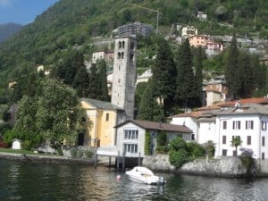 A view of village on Lake Como from the traghetto (ferry)