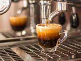 Perfect shot of espresso coffee,crema.