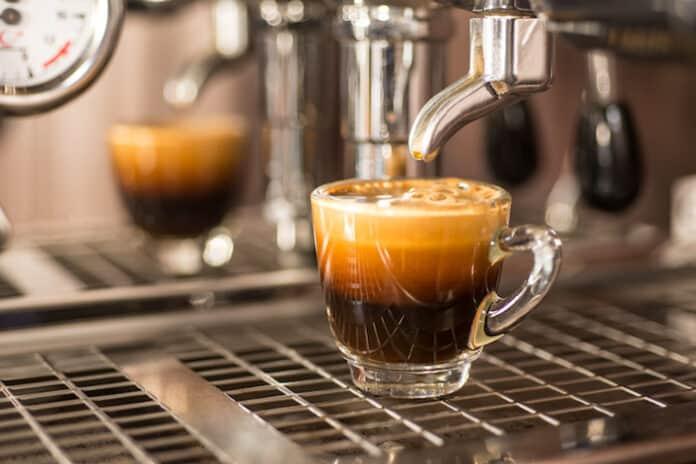 Perfect shot of espresso coffee,crema.